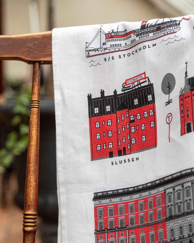 Citronelles Stockholm Geschirrtuch 50x70 cm rot Skandinavische Muster