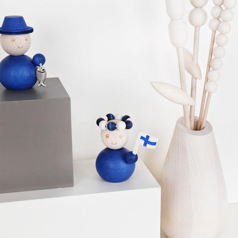 Aarikka Finnland Finnisches Maedchen Hoehe 7 cm blau