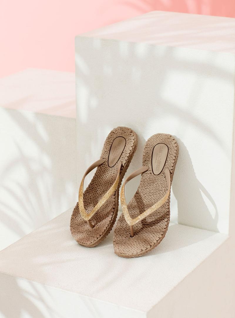 Ilse Jacobsen Damen Zehenlatschen mit Glitter CHEERFUL01 Badelatschen
