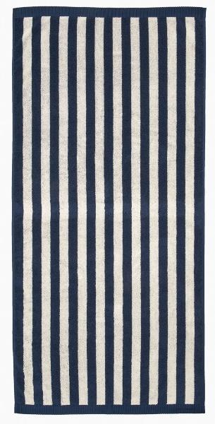Marimekko Kaksi Raitaa 2021 Duschtuch 70x150 cm dunkelblau, sand handtuecher