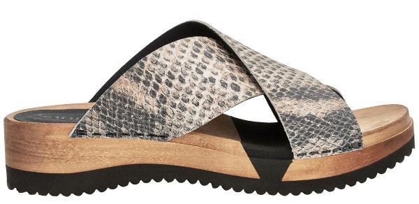Sanita Damen Pantolette mit Flex Sohle Holz DNA Comfort Schlangenhautmuster Saskia