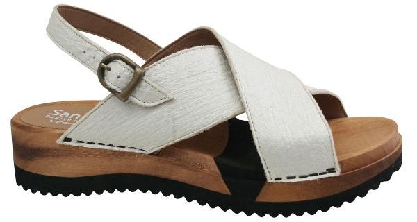 Sanita Damen Sandale Holz mit Flex Sohle Holz vegan weiss