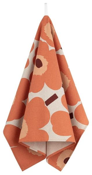 Marimekko Unikko Geschirrtuch 47x70 cm leinenatur, orange, burgunder