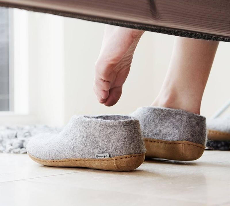 Glerups Modell A Unisex Filzschuh Ledersohle Scandi Schuhe