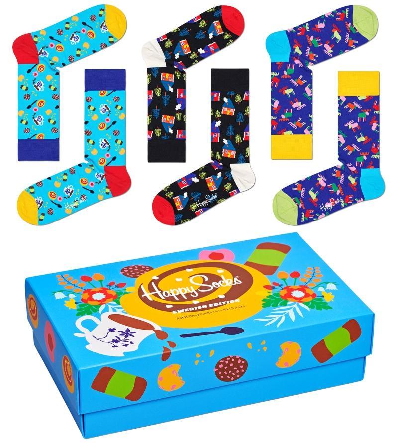 Happy Socks Unisex Struempfe Swedish Edition Geschenkbox 3 Stk