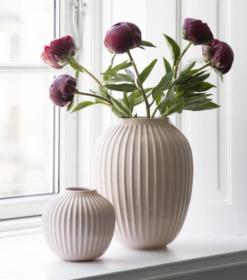 Kaehler Design Hammershoi Vase Hoehe 12,5 cm rosa Vasen mit Rillen