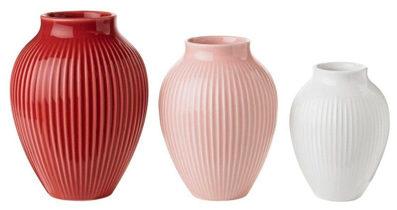 Knabstrup Keramik Vase Rillen 3 tlg Geschenkset weiss, rosa, bordeaux