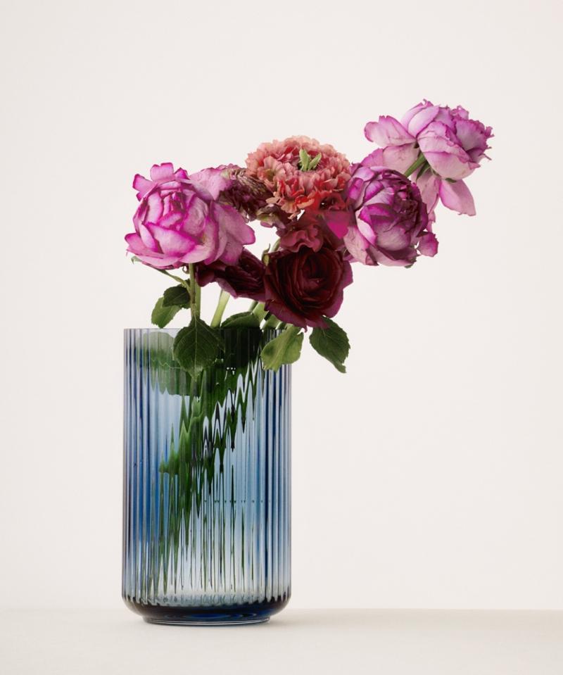 Lyngby Porcelaen Vase Acc Vase Glas Hoehe 20 cm blau