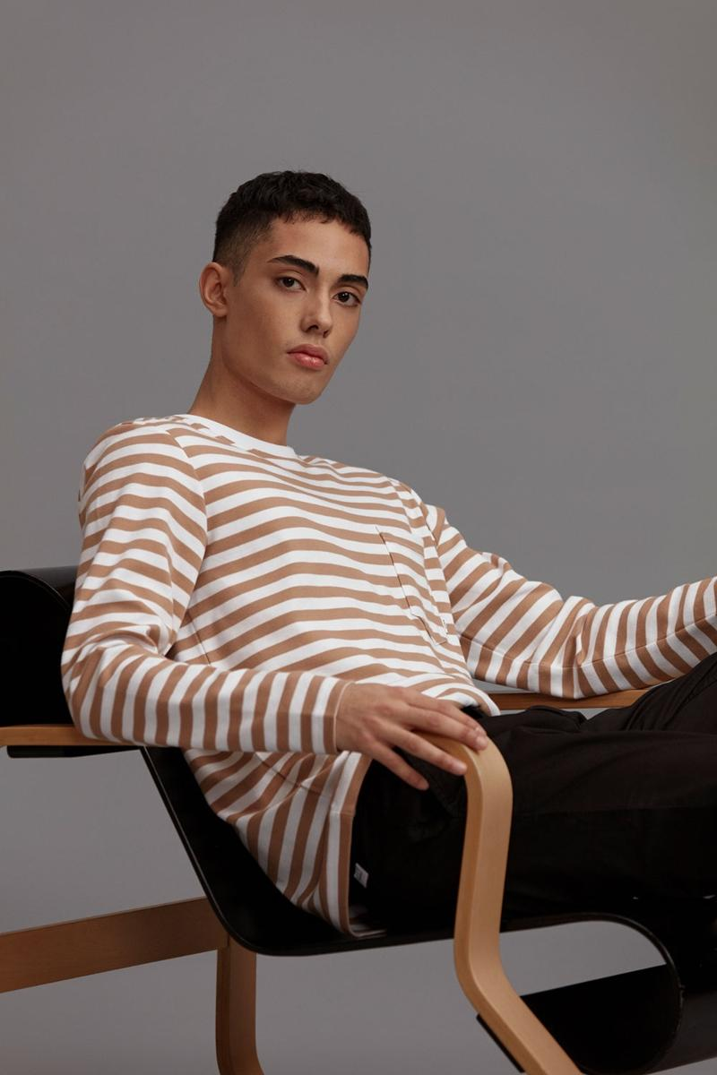Makia Clothing Herren T-Shirt Langarm gestreift Verkstad scandi-mode
