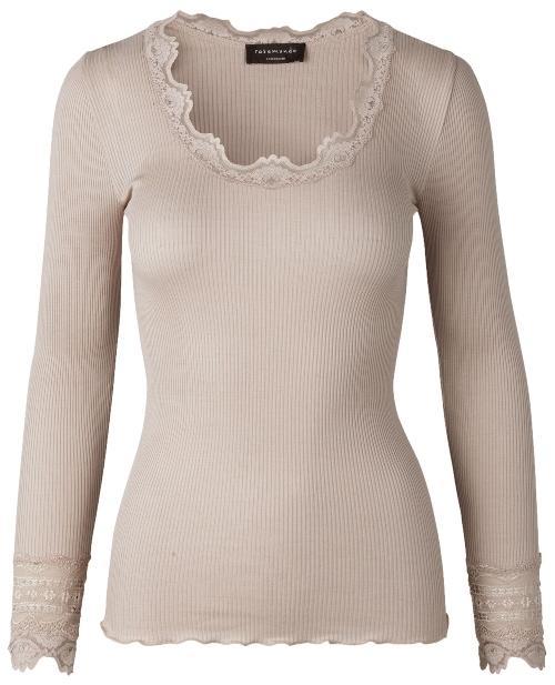 Rosemunde Copenhagen Damen T-Shirt Seide breite Spitze Langarm Benita