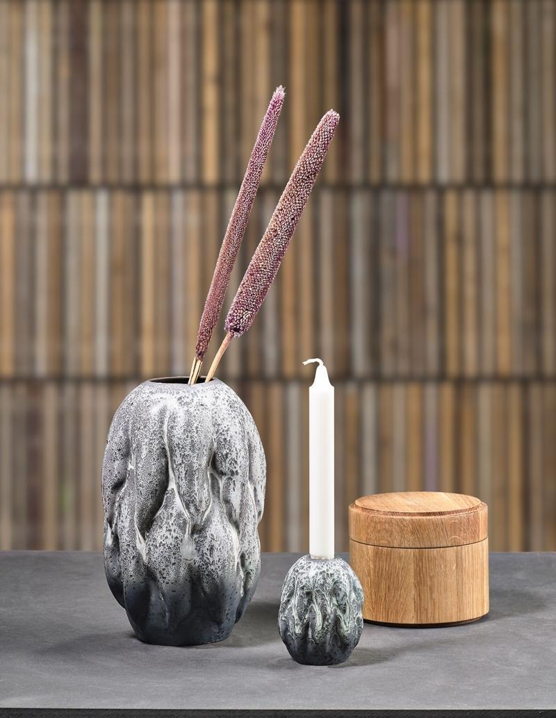 Villa Collection Vase arktisches Eis grau Hoehe 26 cm