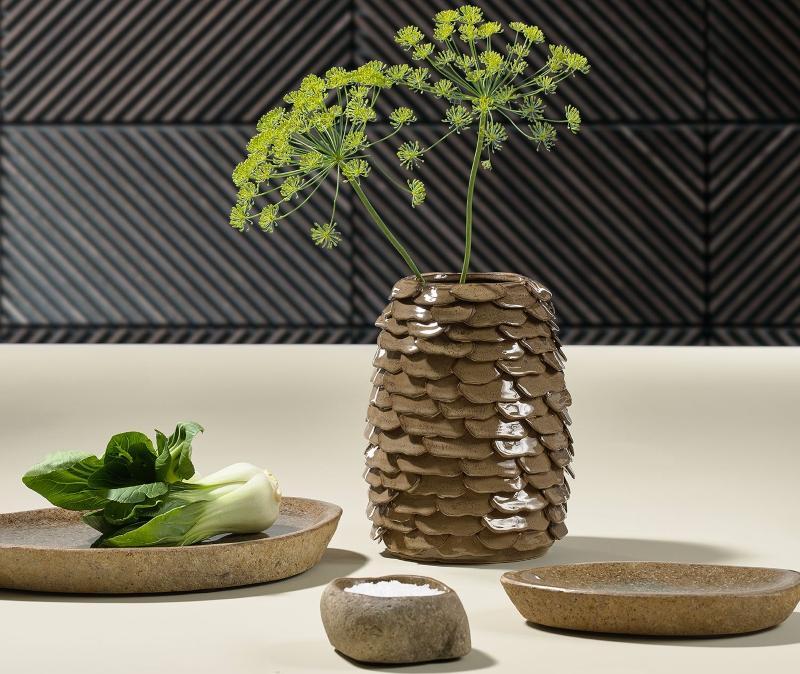 Villa Collection Vase mit Baumrindenstruktur braun Hoehe 25 cm