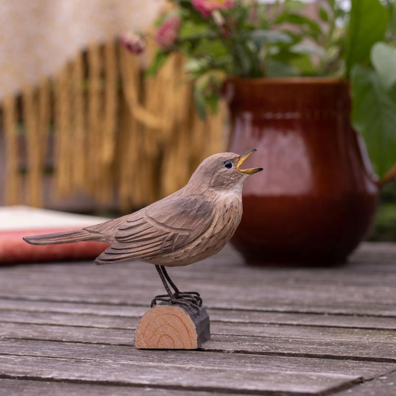 Wildlife Garden DecoBird Sprosser handgeschnitzt lebendiger-garten