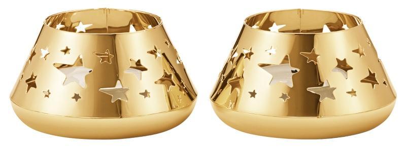 Georg Jensen Weihnachten 2021 Teelichtleuchter Stern 2 Stk gold