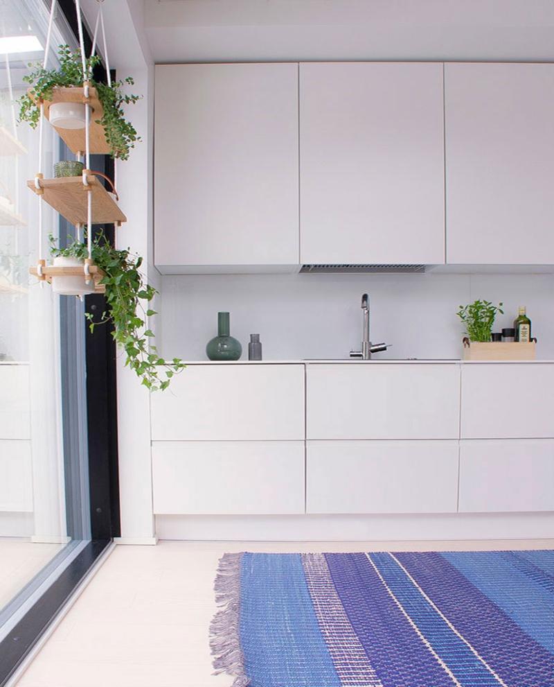 Finarte Birgitta Teppichlaeufer Baumwolle handgewebt blau, blau 80x150 cm skandinavische-teppiche