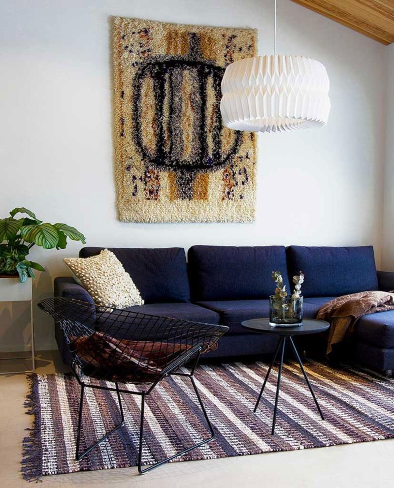 Finarte Huvila Teppichlaeufer Baumwolle handgewebt schwarz 80x150 cm