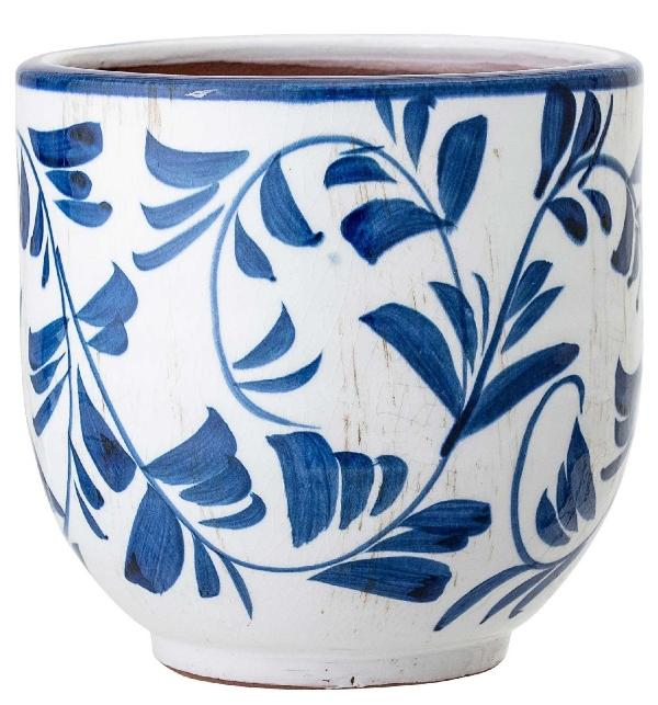 Bloomingville Blumenübertopf Terrakotta mit blauer Dekoration Höhe 14 cm Ø 14 cm