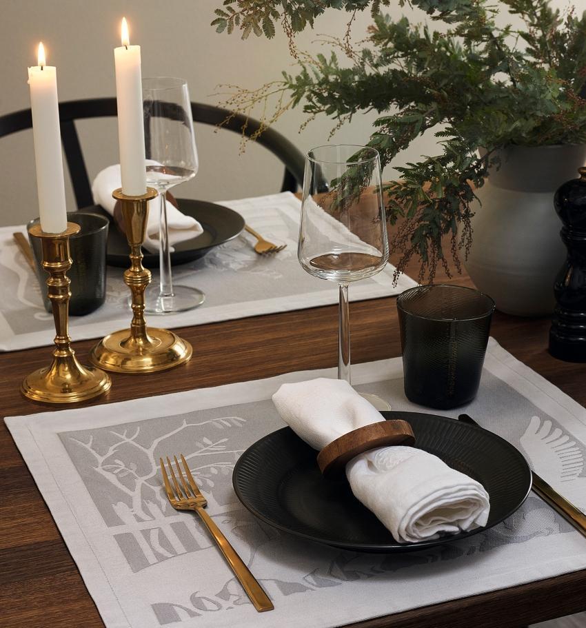 Georg Jensen Damask H.C. Andersen Tischset 2 Stk. Prinzessin auf Erbse & Kleine Meerjungfrau